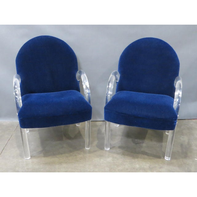 Pair of Pace Collection Lucite Waterfall Dining or Side Chairs Circa 1980 For Sale - Image 12 of 12