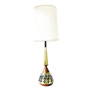 Vintage Retro Brass and Wood Genie Table Lamp C.1950s For Sale