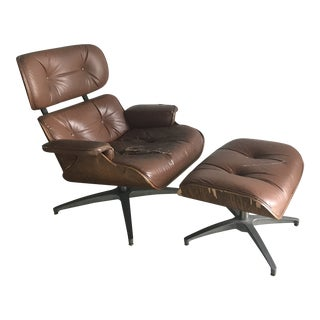 Eames Style Mid-Century Modern Brown Leather Lounge and Ottoman