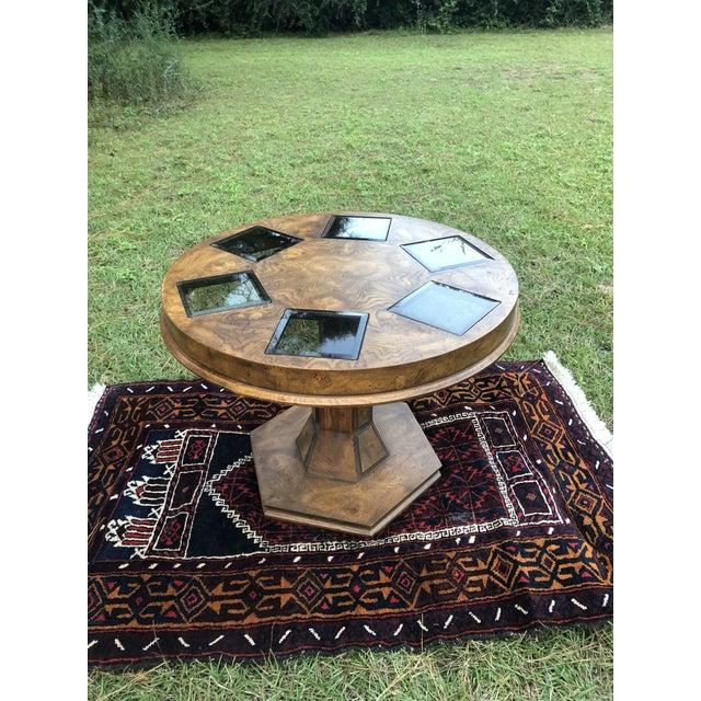 Mid Century Burlwood Pedestal Table With Inset Smoked Glass For Sale - Image 4 of 12