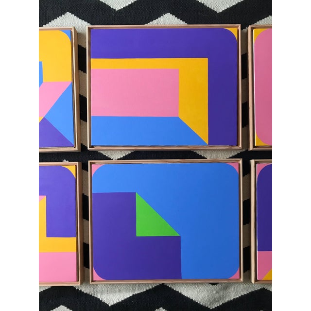 Early 21st Century Colorful Post Modern Hard Edge Abstract Set of Six Framed Original Paintings For Sale - Image 5 of 9