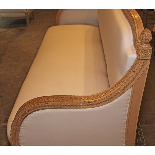 Orange 1890 Antique French Grande Settee For Sale - Image 8 of 9