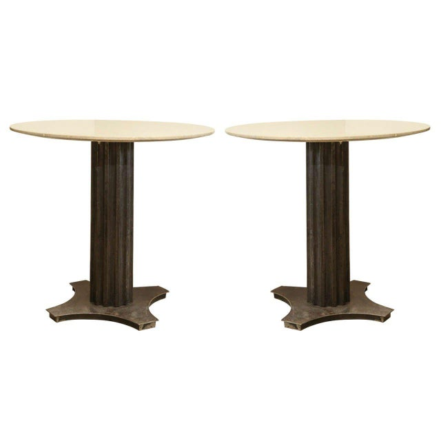 Two Fluted Iron and Stone Side Tables For Sale - Image 9 of 9
