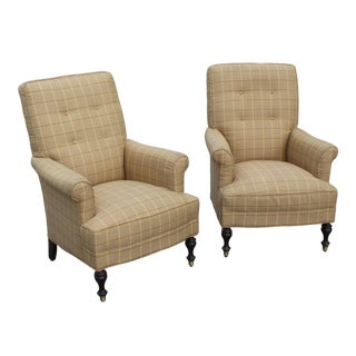 Traditional Tan Club Chairs- a Pair For Sale