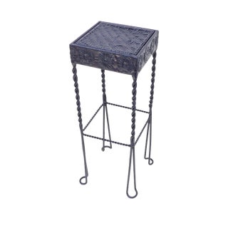 Small Navy Blue Metal Fern Plant Stand Table For Sale