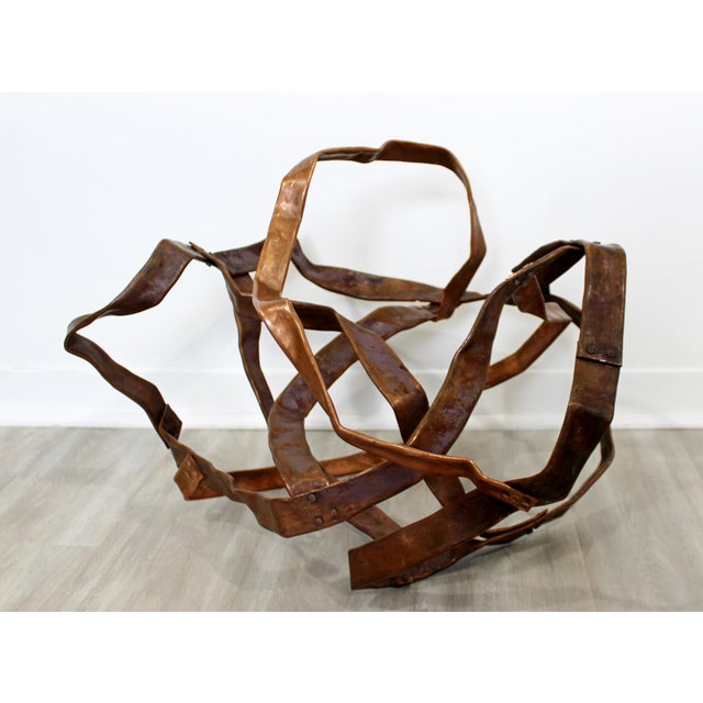 Contemporary Forged Copper Abstract Table Floor Sculpture Signed Hansen 2019 For Sale - Image 4 of 8