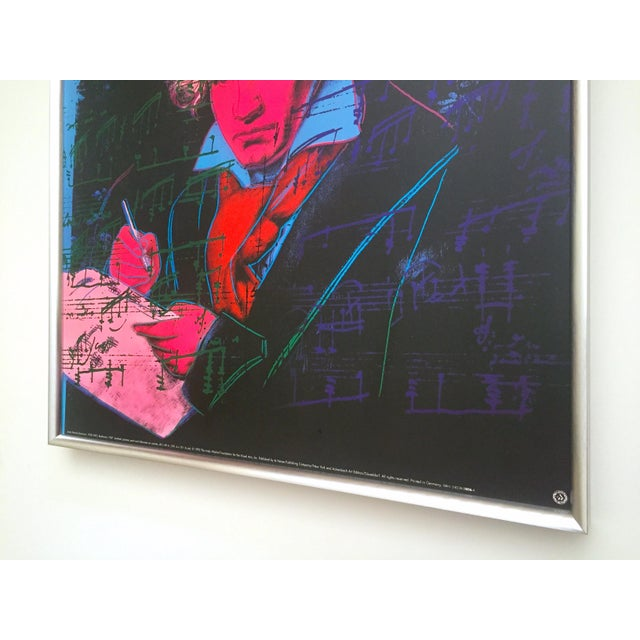 "Andy Warhol Foundation Vintage 1992 Lithograph Print Framed Pop Art Poster "" Beethoven "" 1987 For Sale - Image 9 of 13"