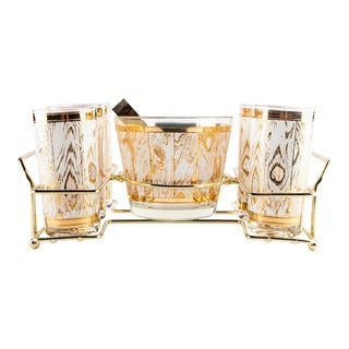 1960's Gold and White Faux Bois Barware Set For Sale