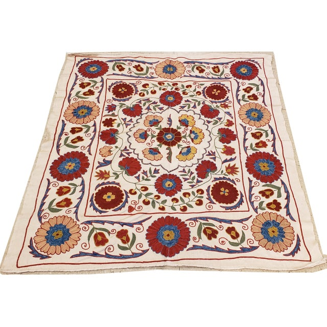 20th Century Asian Suzani Textile Rug - 3′3″ × 3′4″ For Sale - Image 4 of 9