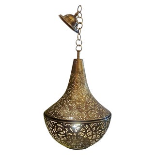Moroccan Copper Ceiling Lamp or Lantern, Pear Shape For Sale