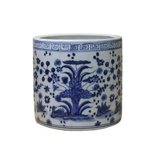 Chinese Blue & White Porcelain Floral Scenery Brush Holder Pot For Sale