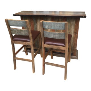 Modern Rustic Bar Set- 3 Pieces For Sale