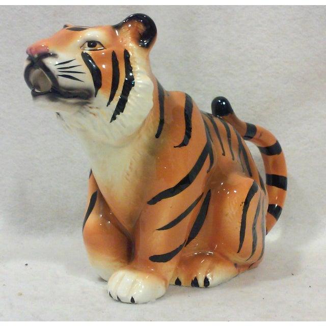 Primitive Ceramic Tiger Pitcher For Sale - Image 3 of 8
