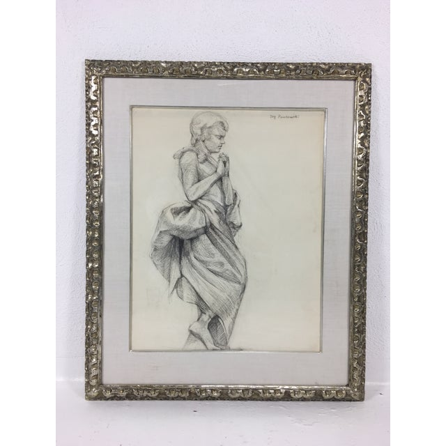 Academy Style Woman in Classical Dress Pencil Drawing For Sale - Image 11 of 11