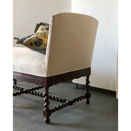 Elizabethan-style Chaise Six spiral-twist legs joined by similar spiral-twist block-and-turned stretchers, the Upholstered...