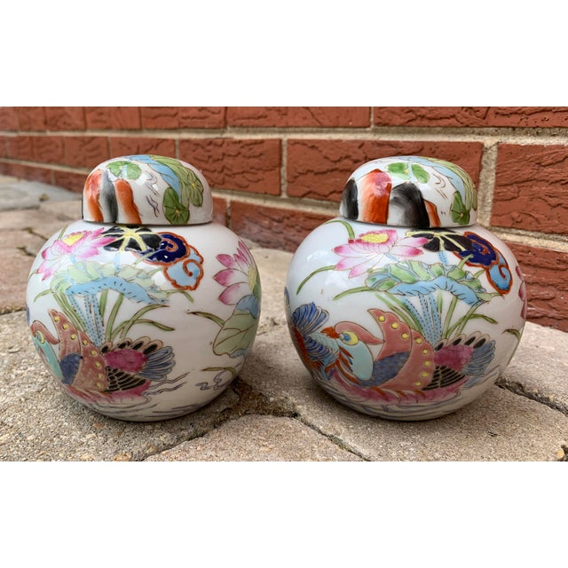 White Vintage Chinoiserie Lidded Jars - a Pair For Sale - Image 8 of 11