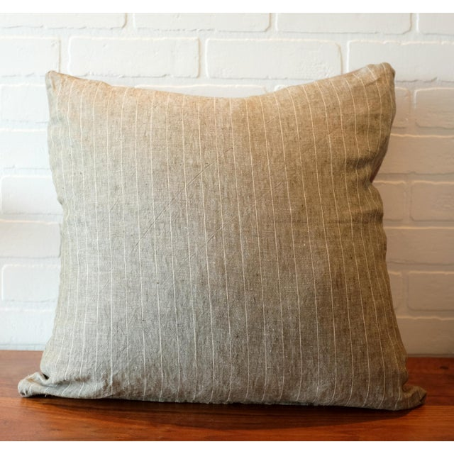 2010s Rogers & Goffigon Washed Linen Striped Pillow Covers - A Pair For Sale - Image 5 of 7