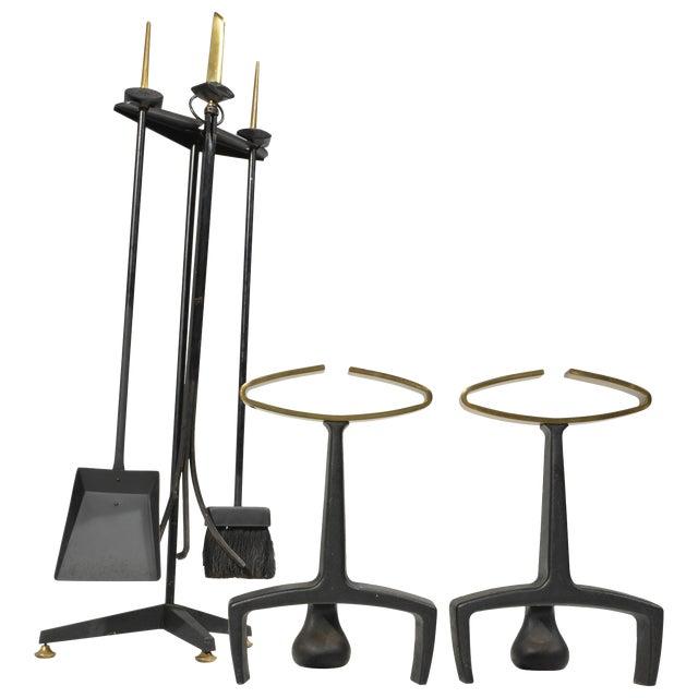 Donald Deskey Fireplace Andirons Tool Set For Sale