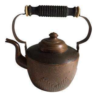 Vintage Copper & Carved Wooden Handle Tea Kettle For Sale