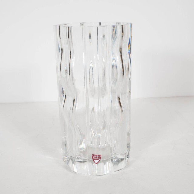 Swedish Mid-Century Modern Translucent Handblown Rippled Glass Vase by Orrefors For Sale - Image 10 of 10