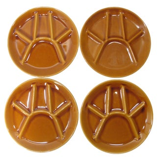 French Mid-Century St. Amand Fondue / Artichoke Plates, S/4 For Sale