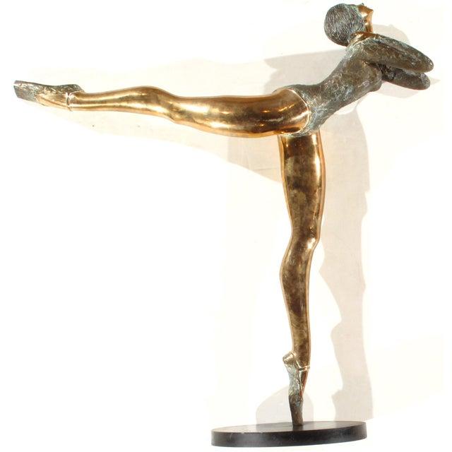 Bronze Pasargad NY Bronze Ballerina Statue - Prince Monyo Mihailescu-Nasturel Herescu (Romanian B. 1926) For Sale - Image 7 of 9