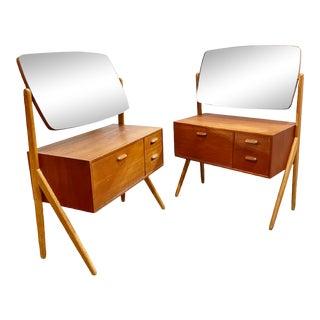 Danish Modern Teak Vanities or Side Tables Nightstands - a Pair For Sale