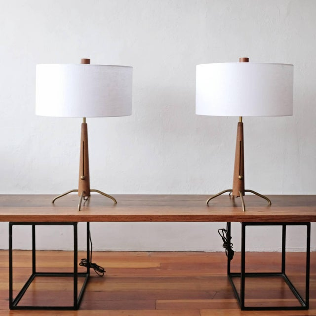 Walnut and Brass Gerald Thurston Adjustable Height Lamps For Sale - Image 9 of 10