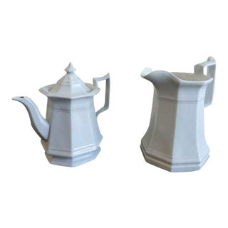 19th C. Ironstone Teapot And Pitcher For Sale