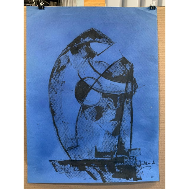 """1980s 1980s """"Figure on Blue"""" Painting Leon Collard For Sale - Image 5 of 5"""
