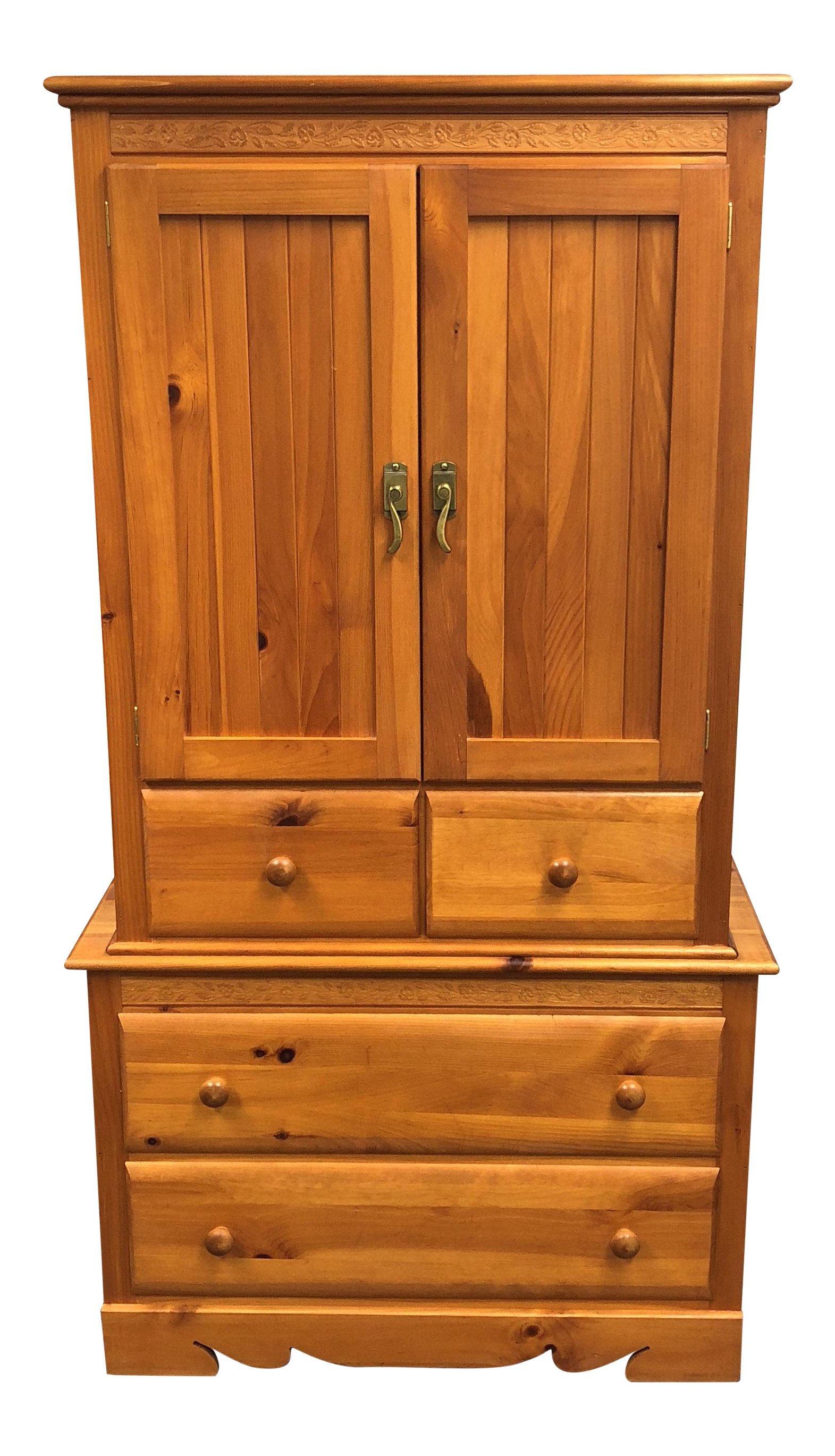 Charming Master Craft Knotty Pine Armoire