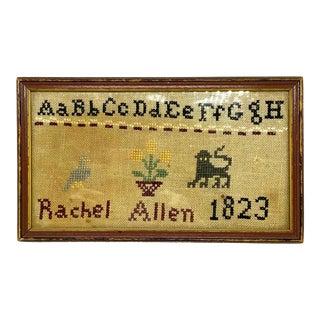 Vintage Rachel Allen Needlepoint Sampler, Framed For Sale