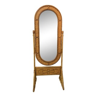 1950s Vintage Bamboo Cheval Mirror For Sale