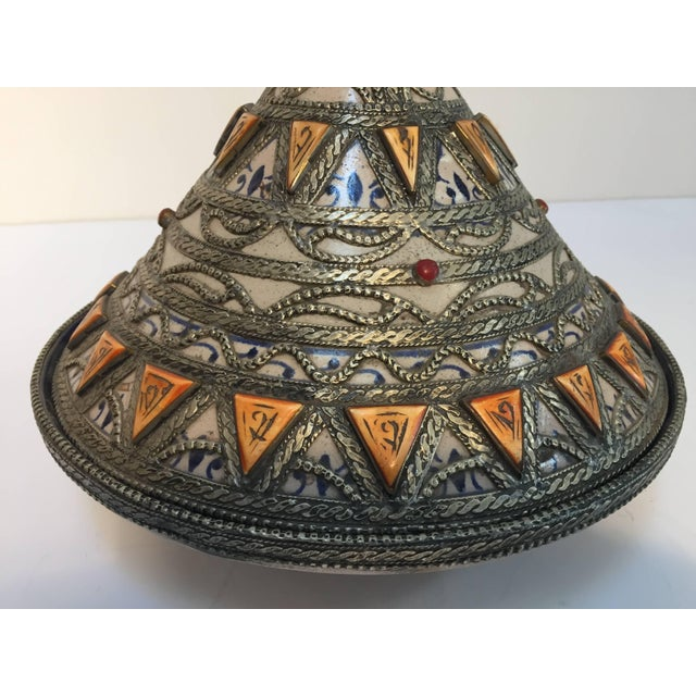 Islamic Moroccan Ceramic Polychrome Tajine with Leather Stones and Metal Overlay For Sale - Image 3 of 10
