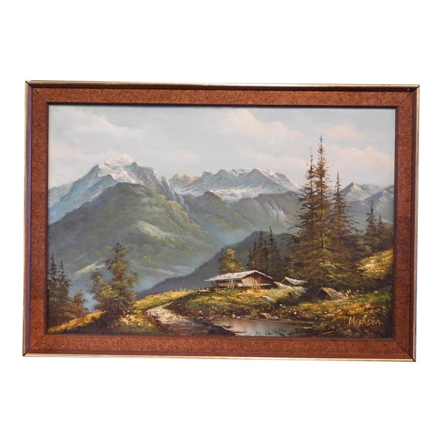 Mid 20th Century Mountain Landscape Oil Painting, Framed For Sale