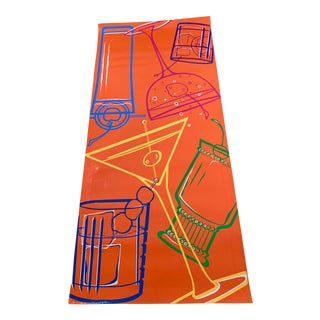 """Hand-Painted 'Cocktail Party' Floorcloth - 3' 9""""' X 8' 6""""' For Sale"""
