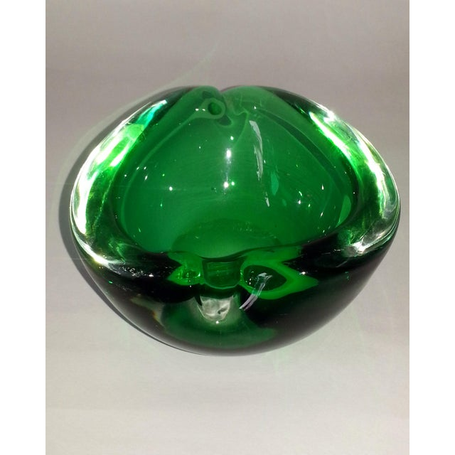 Green Vintage Murano Curled Leaf Dish For Sale - Image 8 of 11