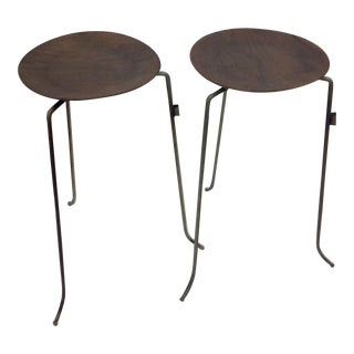 1950s Mid Century Modern Tony Paul Plywood and Brass Stacking Tables - a Pair For Sale