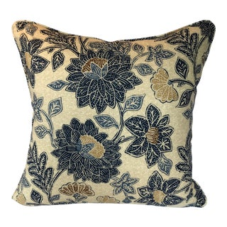 Boho Chic Style Blue Floral Pillow - 22ʺW × 22ʺH For Sale