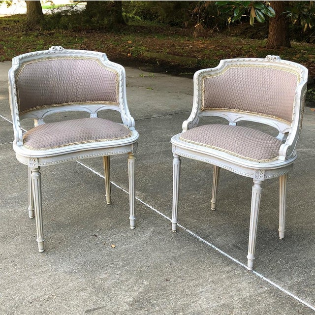 Antique French Louis XVI Painted Armchairs - a Pair For Sale - Image 10 of 10