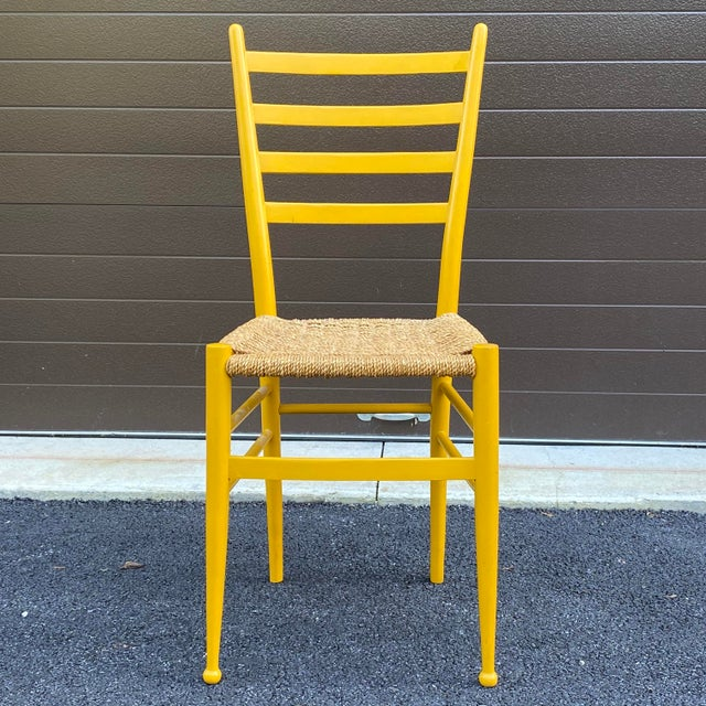 Woven Rope Gio Ponti Style Side Chair For Sale - Image 12 of 12