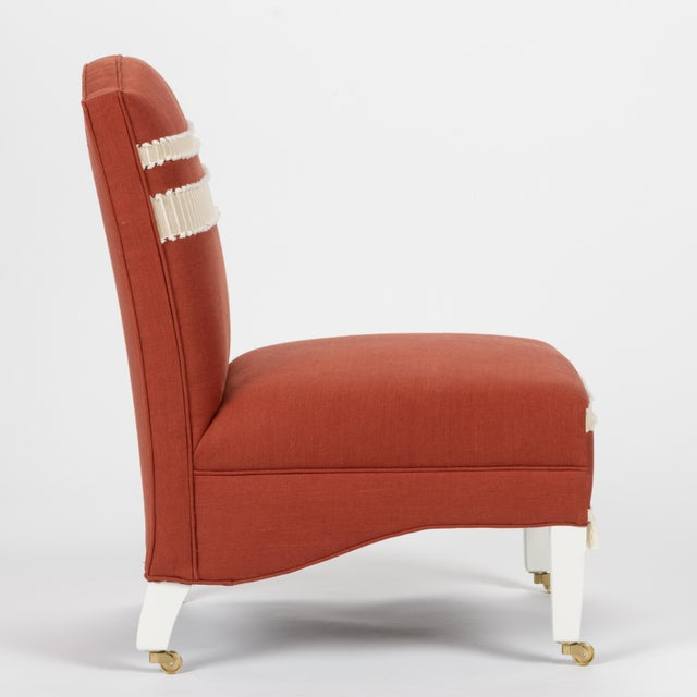Traditional Casa Cosima Sintra Chair in Paprika Linen For Sale - Image 3 of 10
