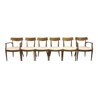 Set of Drexel Declaration Walnut Dining Chairs by Kipp Stewart For Sale
