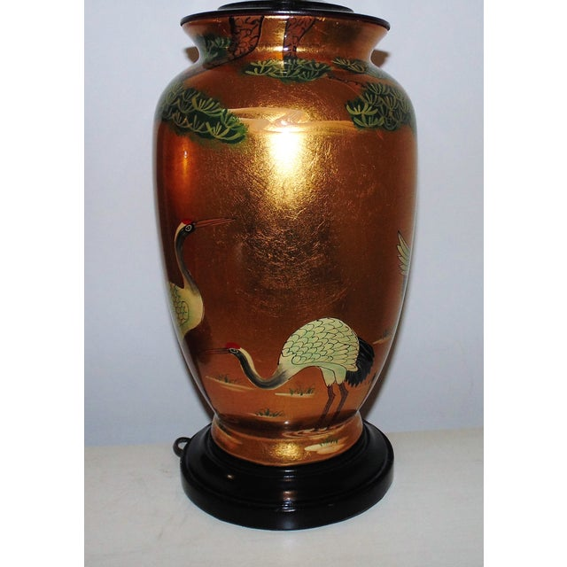 Vintage Chinoiserie Gold Table Lamps W/ Birds Herons - a Pair For Sale - Image 4 of 9