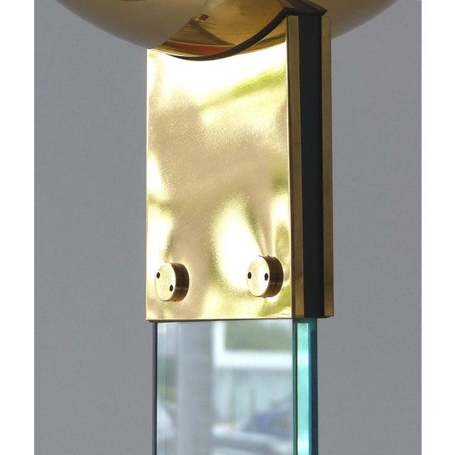 Italian Italian Brass & Glass Mid-Century Torchiere Floor Lamp For Sale - Image 3 of 12
