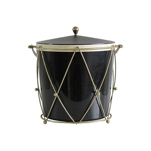 Black Plastic Drum-Style Ice Bucket & Caddy - Image 3 of 4