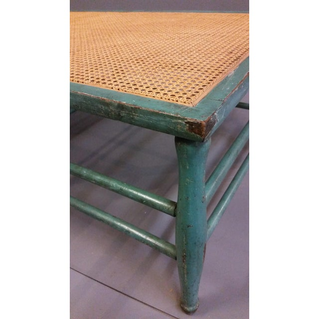 Metal Antique 1920s French Wood and Cane Lounge Chair For Sale - Image 7 of 13
