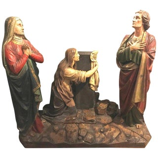 19th Century Polychrome and Paint Decorated Christmas Scene Three Figures For Sale