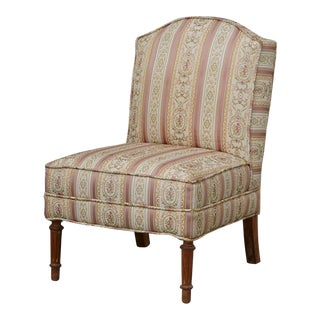 French Provincial Style Slipper Chair With Reeded Fluted Legs For Sale