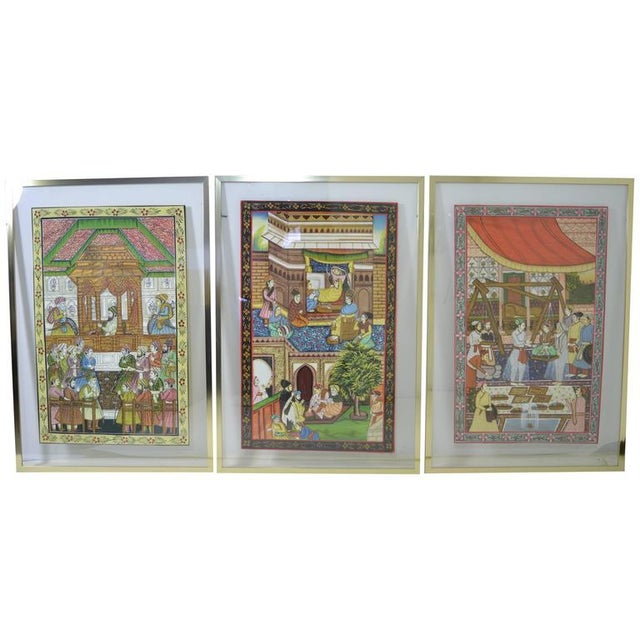 Persian Watercolors in Floating Frames - Set of 3 - Image 2 of 9
